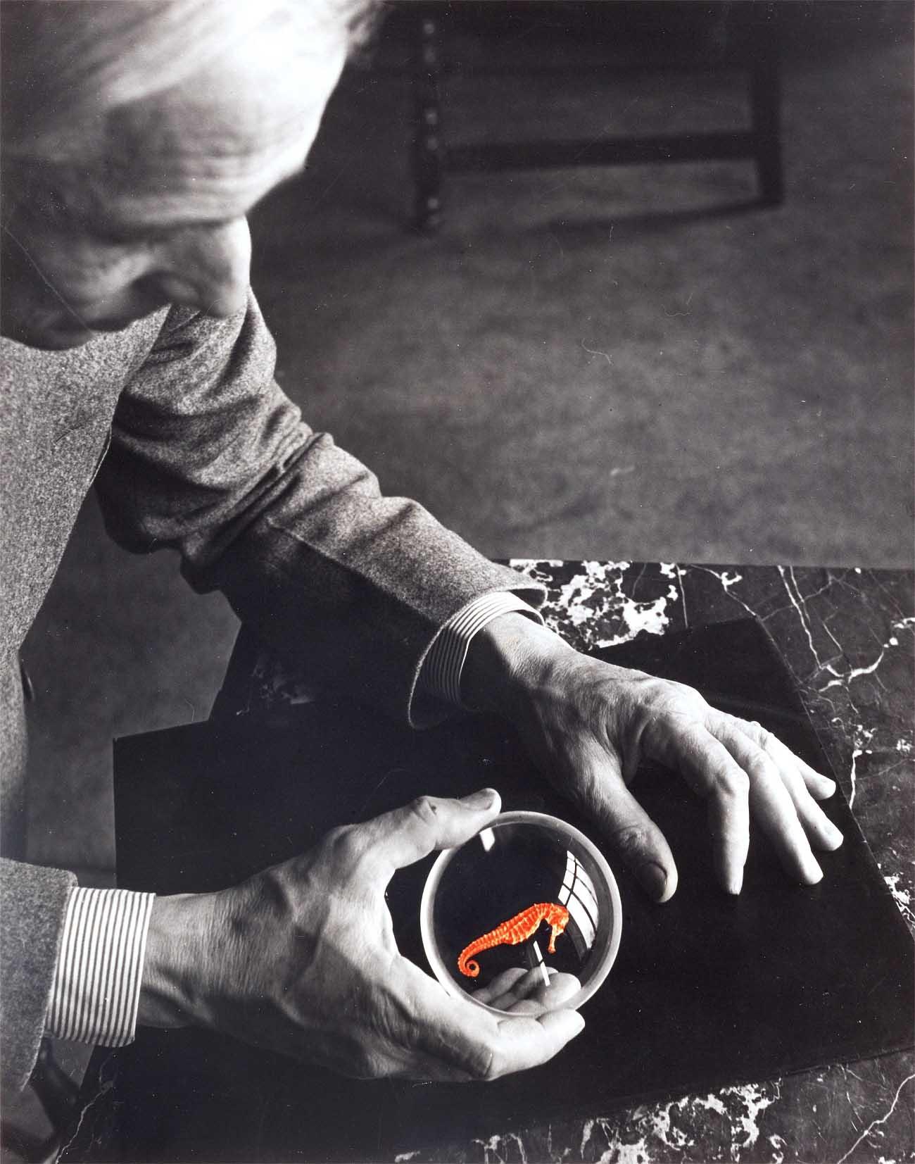 Josef Breitenbach. Max Ernst and the seahorse, New York, 1942.