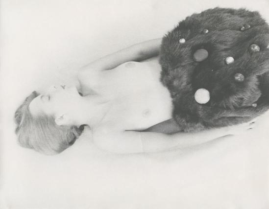 Josef Breitenbach-untitled , female nude with dark fur and ornaments, 1940s