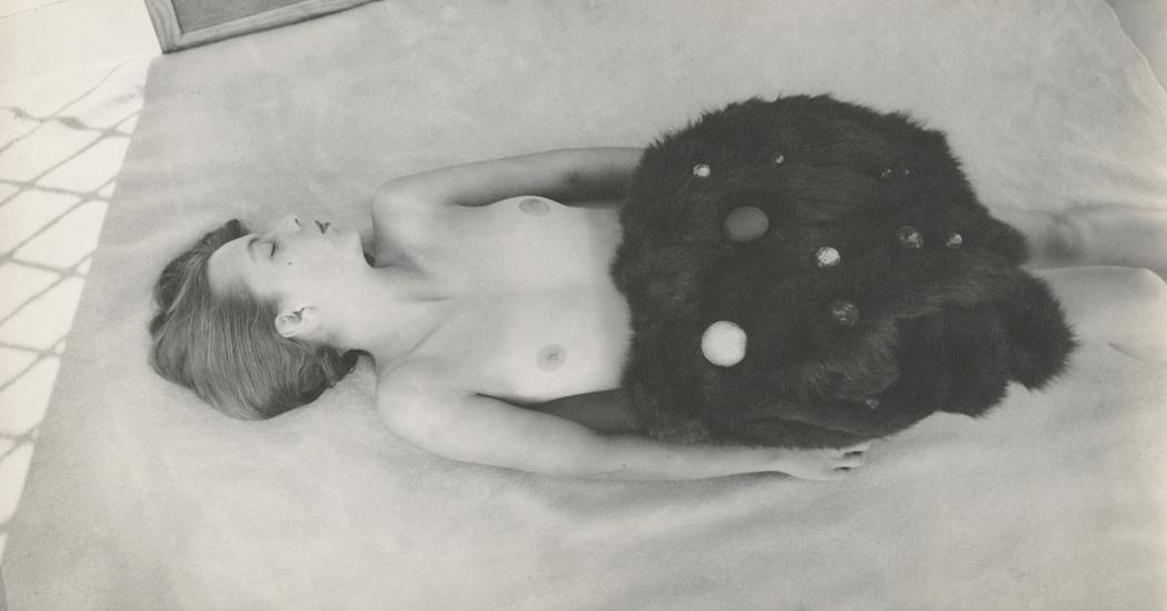 Josef Breitenbach-untitled , female nude with dark fur and ornaments, 1940s