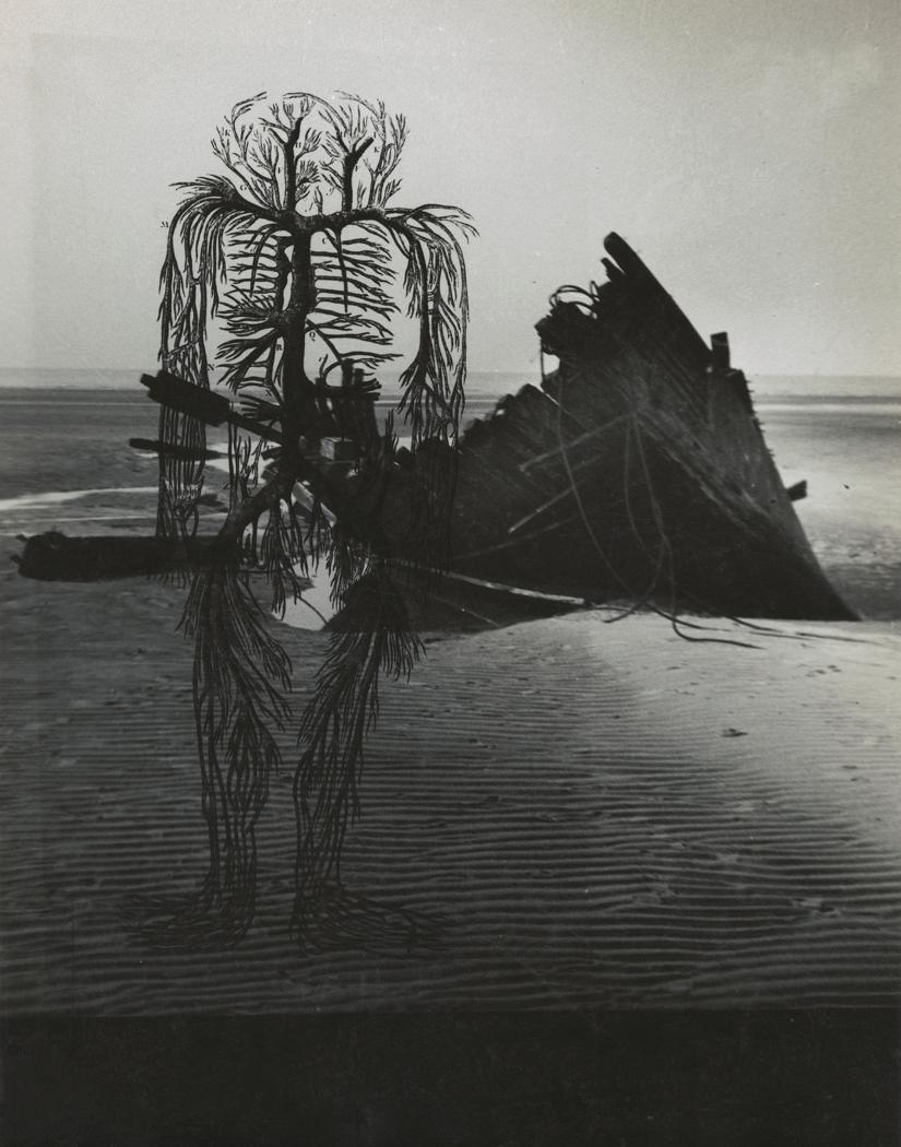 Josef Breitenbach-untitled , human circulatory system diagram, dark beach scene with wrecked boat,  1942  © The Josef Breitenbach Trust