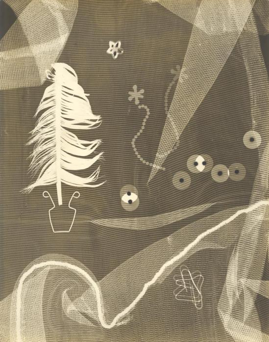 Josef Breitenbach-untitled ( objects on a patterned ground, feather, clips, washers), 1954 © The Josef Breitenbach Trust