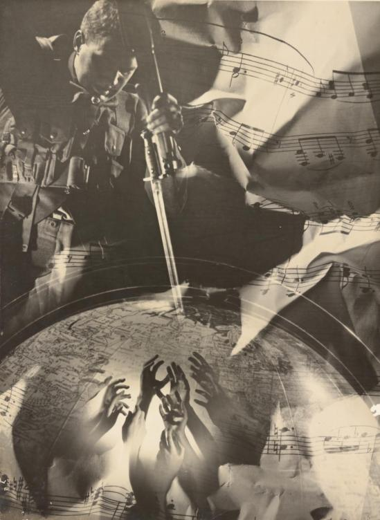 Laurence Le Guay- No title (War montage with globe), 1939 gelatin silver photograph