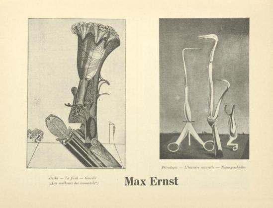 Max Ernst- Puška ( Le fusil Gewehr Les malheurs des immortels) & Max Ernst- Přírodopis ( L'histoire naturelle Naturgeschichte.) From ReD published by Karel Teige), 1927-1928