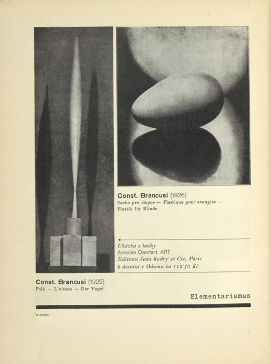 Constantin Brancusi (1925) Pták = L'oiseau From ReD published by Karel Teige),Red 2 , 1928-1929
