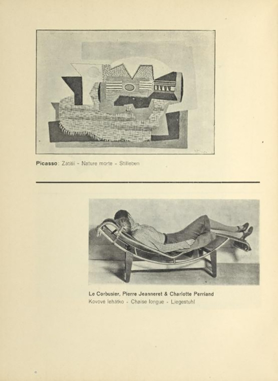 Picasso- Zátiší ( Nature morte ) & Le Corbusier, Pierre Jeanneret & Charlotte Perriand , Kovové lehátko (Chaise longue ) From ReD published by Karel Teige), Octobre 1927