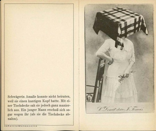 "Stepán Bohumil-from Familienalbum by Bohumil Štěpán, published by Deutscher Taschenbuch Verlag, 1971  "" Sister Amalie could not marry because she had a square head. But with a tablecloth she looked very respectable. A young man even shot himself because of her (when she removed the tablecloth)."""