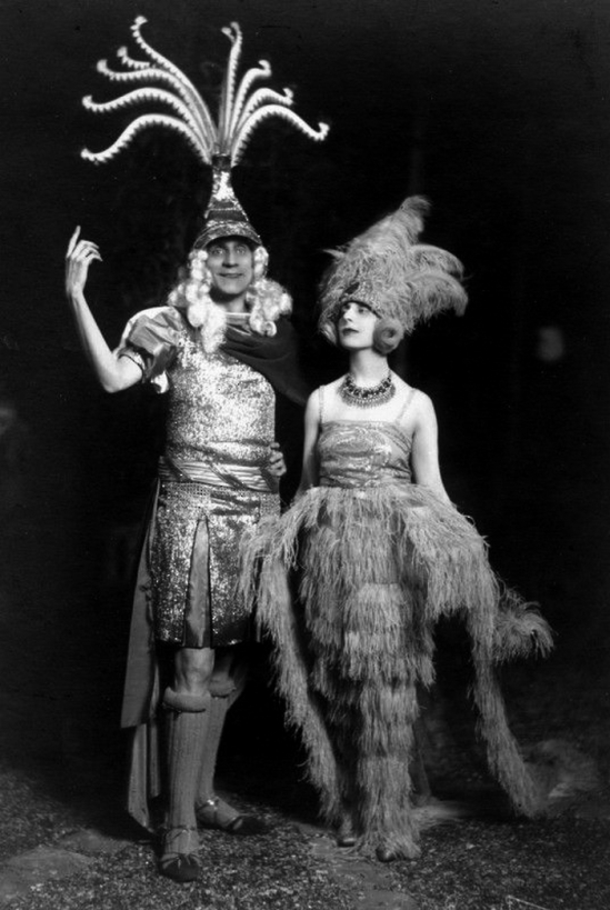Etienne de Beaumont and his wife dressed in costumes created by himself (Baroque Dance), 1920s