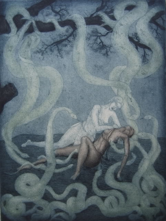 Ghislaine de Menten de Horne-Abandonne-toi vive aux serpents ,  Illustration for Paul Valéry's La Jeune Parque, 1935