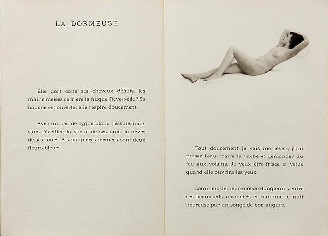 Laure Albin Guillot - La dormeuseDouze Chansons de Bilitis.Pierre Louÿs's erotic classic, illustrated by Albin-Guillot's delicate nudes Paris, J. Dumoulin, 1937.