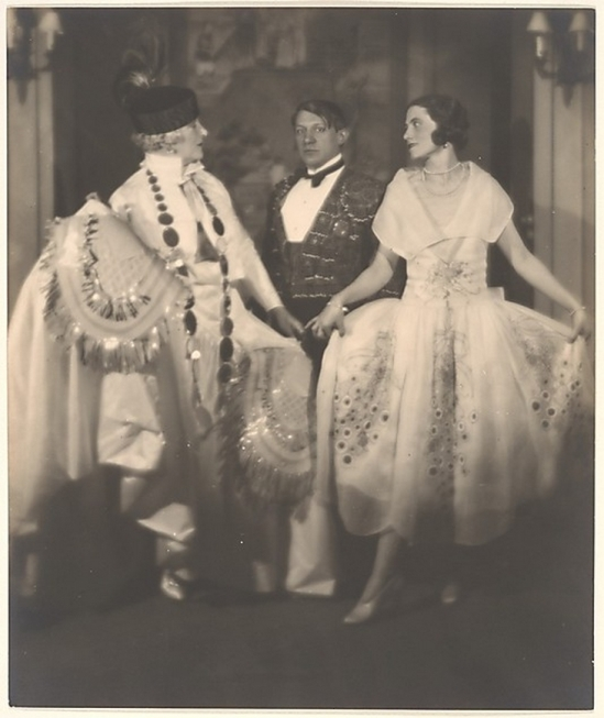Man Ray- Mrs. Errazuriz, Picasso and Olga (his wife) to the ball of Beaumont Count 1924