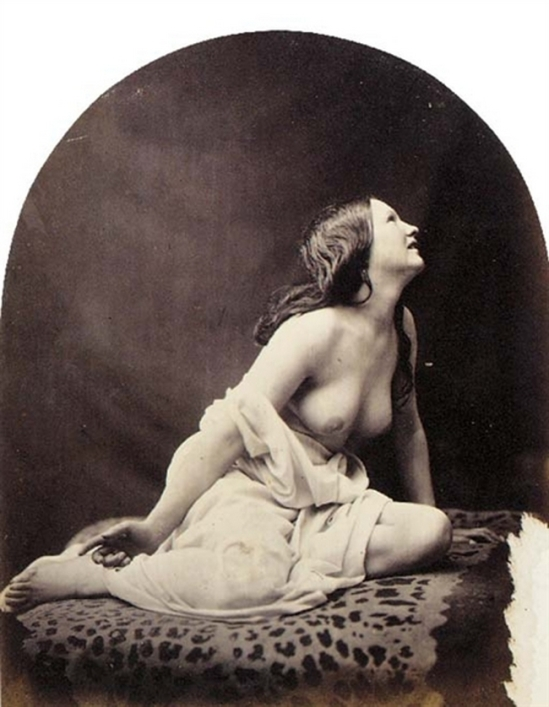 Oscar Gustave Rejlander Draped nude on animal-skin rug, 1855s