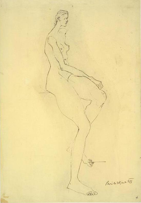 Brassaï  Diaghalev Femme assise, encre,  juin 1933