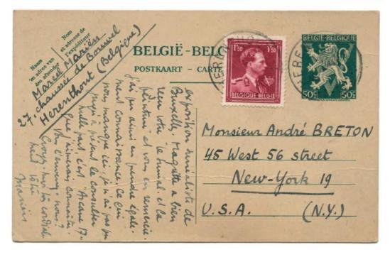 CARTE POSTALE AUTOGRAPHE SIGNÉE ÀANDRÉ BRETON. Bruxelles, 15 février 1946