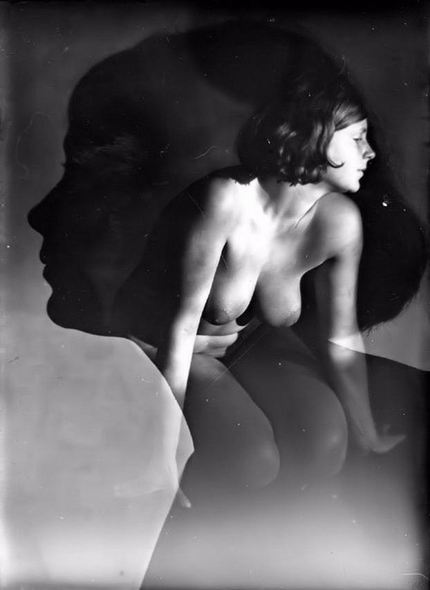Edmund Kesting -female nude double exposure , 1930