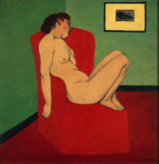 Félix Vallotton Felix Vallotton, Nude Seated in a red armchair   Nude Seated in a red armchair 1897