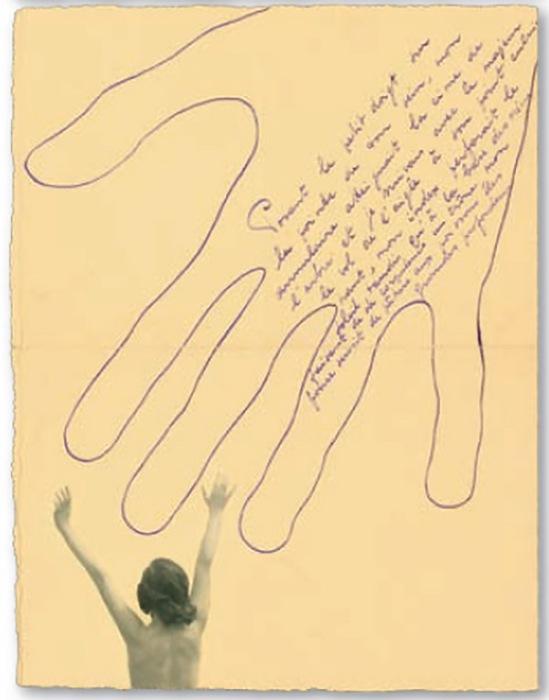 Marcel Marien - Collage et poème adressé à Jacqueline , 1938
