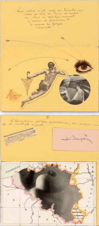 Marcel Marien - deux collages adressés à Jacqueline , 1938