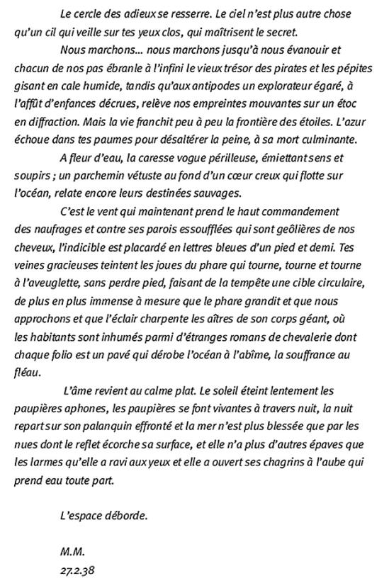 Marcel Marien - lettre à Jacqueline , 27 Fevrier 1938