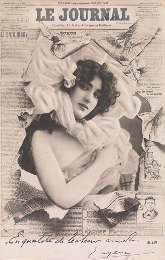 Reutlinger-  Melle de Villiers, photomontage, French postscard