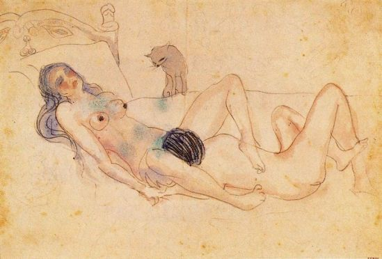 Pablo Picasso- Two figures and a cat, 1902 (source all art )