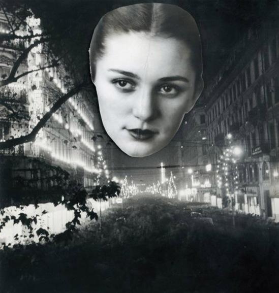 Blanc et Demilly-Portrait dans la nuit, vers 1945-1950 photocollage