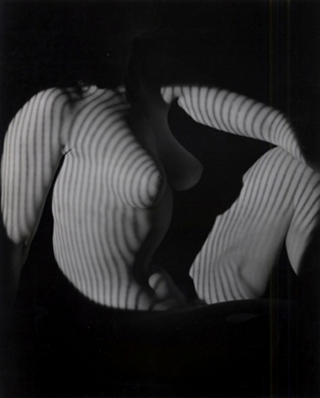 Edwin Blumenfeld -Striped Nude, 1950