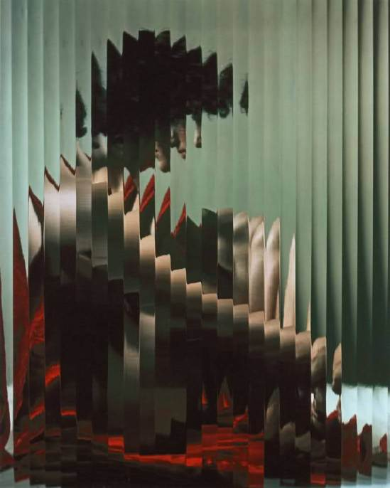 Erwin Blumenfeld -Lisette behind Fluted glass, 1954