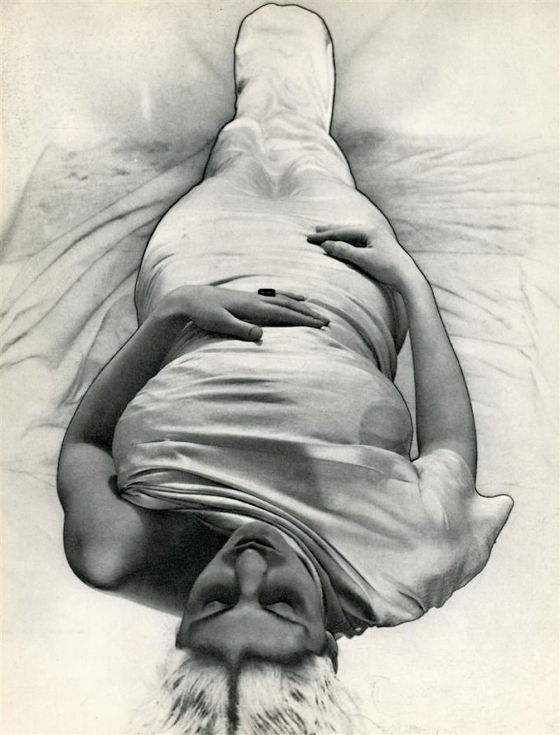 Erwin Blumenfeld- Living Mummy [solarization],photogravure, 1935. and published as Requeiscat, in Coronet Magazine, June 1938