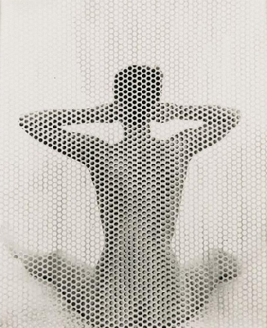 Erwin Blumenfeld -Seated Nude behind perforated screen, New York, 1955