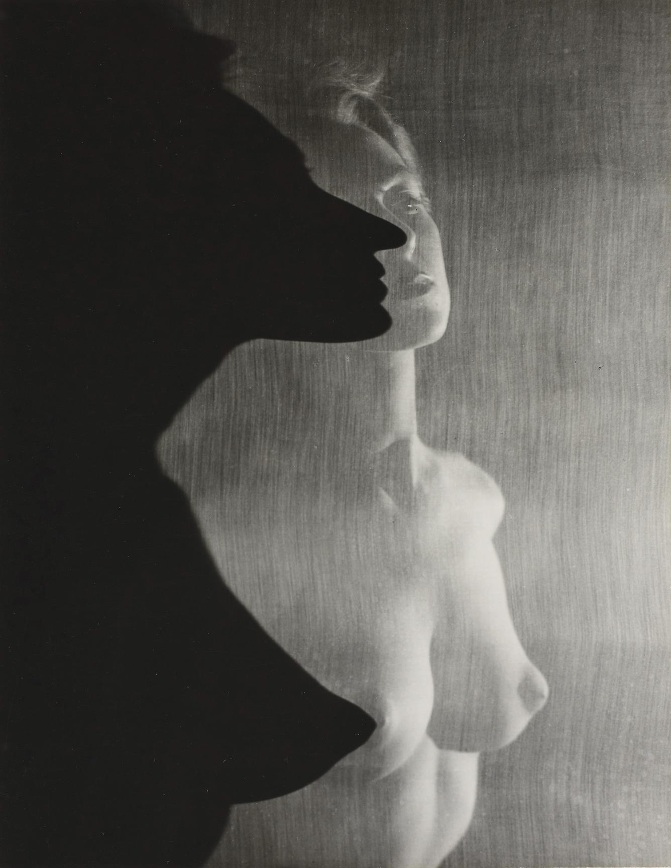 Erwin Blumenfeld- Shadow Profile Behind Veil, 1943