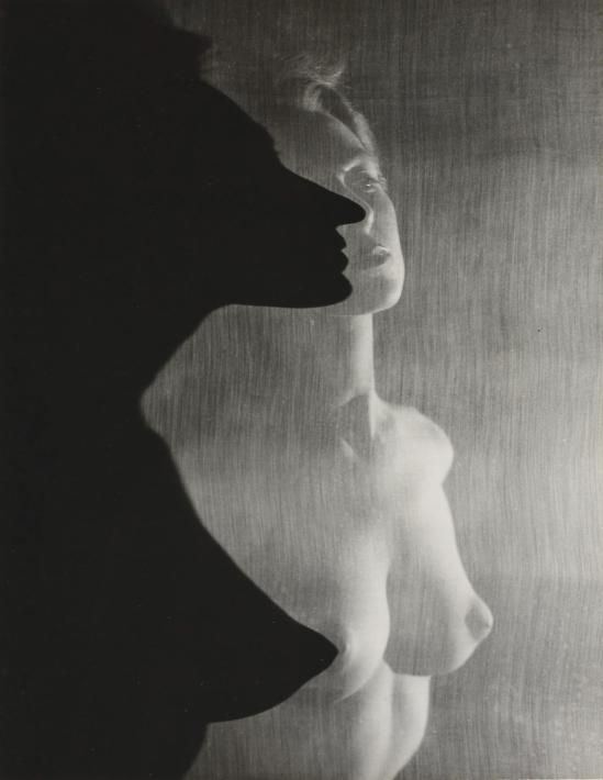 Erwin Blumenfeld- Shadow Profile Behind Veil, 1943