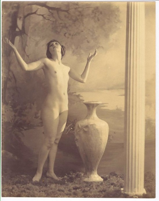 Ann Alcom In the early 1920's, she posed for photos contained in a nude art instruction book, Alta Art Studies Volume I, published by the Alta Studios,San Francisco by Alexander Xan Stark_