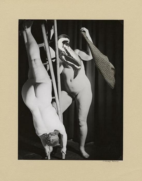 Marcel Bovis- photomontage Deux nus féminins tête bêche, nd