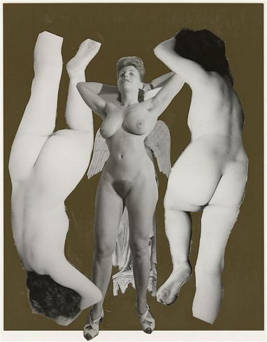 Marcel Bovis- photomontage Deux nus féminins tête bêche, un nu féminin de face 1975-80