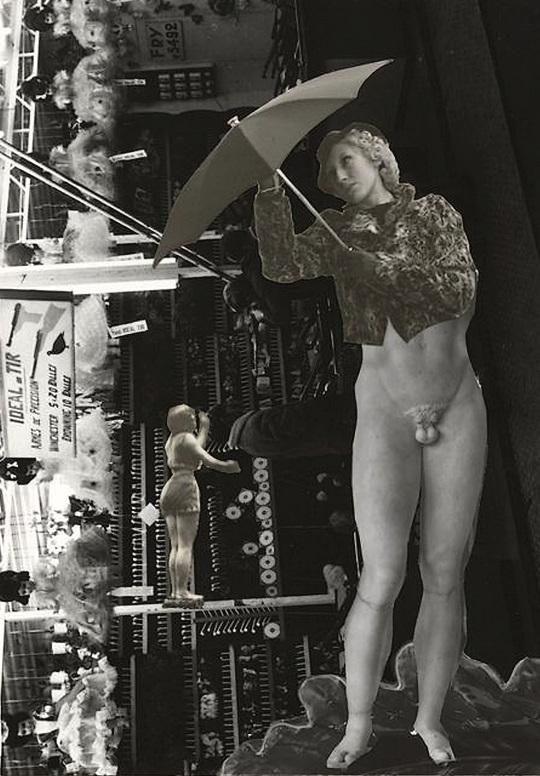 Marcel Bovis- photomontage Femme au parapluie, nu masculin académique, stand de tir, silhouette féminine 1990