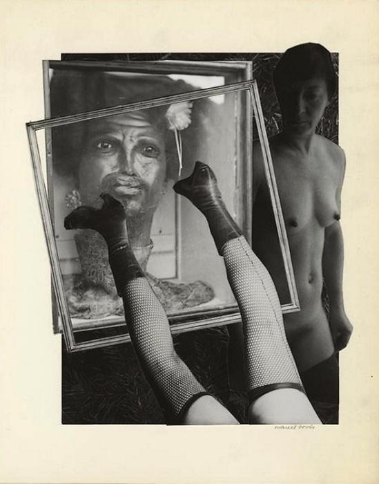 Marcel Bovis- photomontage Figure en cire du Musée Dupuytren, jambe aux bas à résille, 1970s
