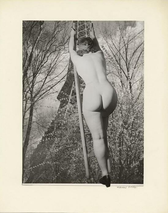 Marcel Bovis- photomontage Nu féminin à l'assaut de la Tour Eiffel , nd