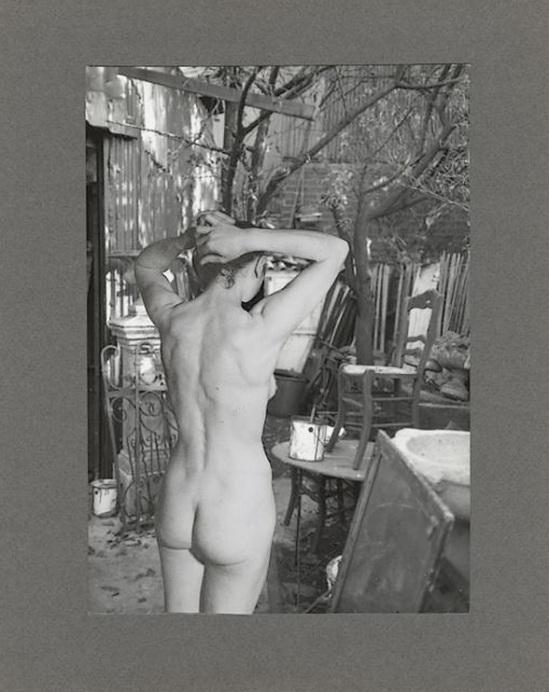 Marcel Bovis- photomontage Nu féminin et extérieur cour 1970s