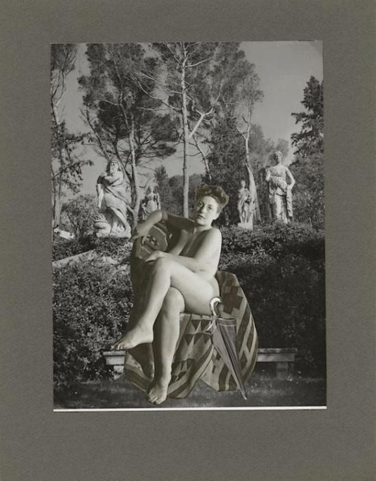 Marcel Bovis- photomontage Nu féminin et jardin de sculptures , nd