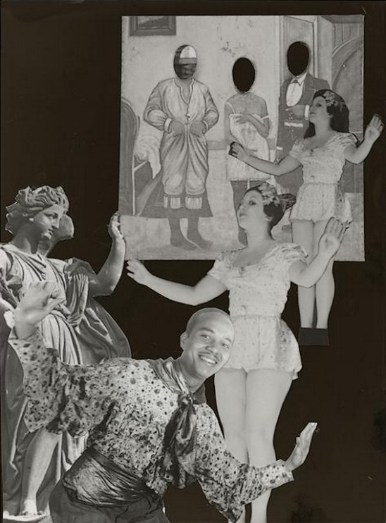 Marcel Bovis- photomontage Panneau de photographe, deux danseuses, un danseur créole,, 1990