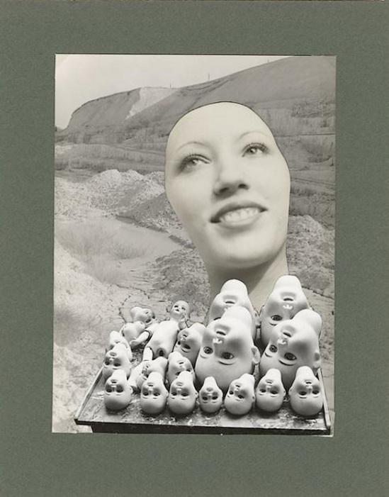 Marcel Bovis- photomontage ( Têtes de poupées, visage féminin, paysage aride ) 1978