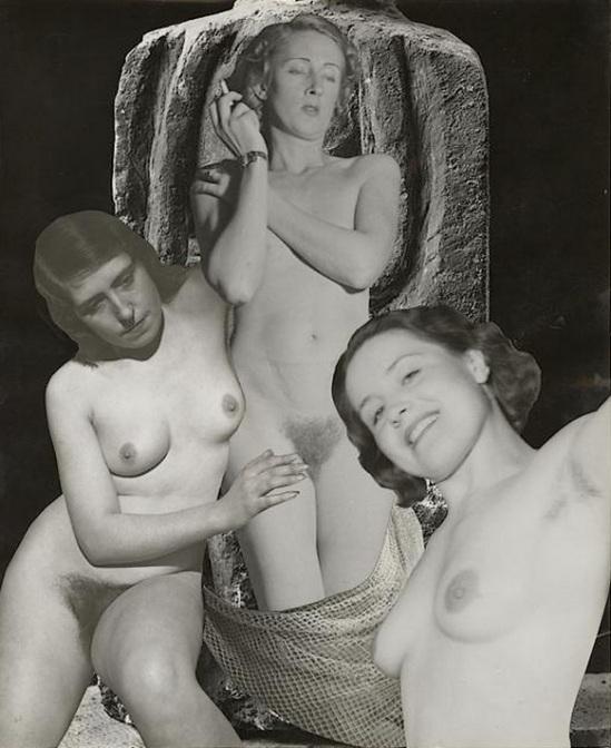 Marcel Bovis- photomontage Trois nus féminins , nd