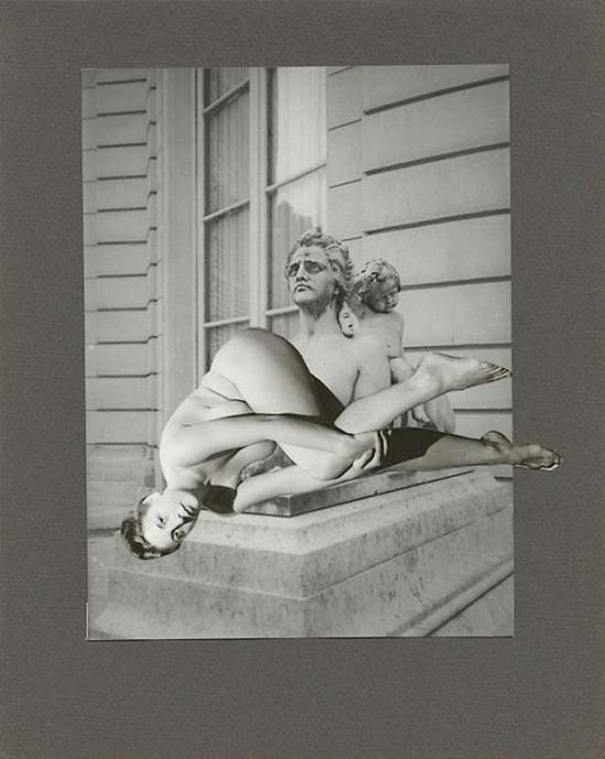 Marcel Bovis- photomontageNu féminin, buste masculin, façade d'hôtel particulier 1975-80