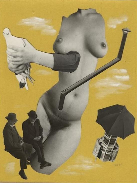 Marcel Bovis- photomontageNu féminin, Deux messieurs en costumes de ville, un nu féminin sans tête ni bras, une vespasienne... 1975-80