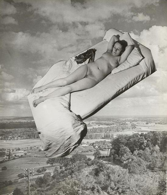 Marcel Bovis- photomontageNu féminin sur un lit sur fond de paysage , nd