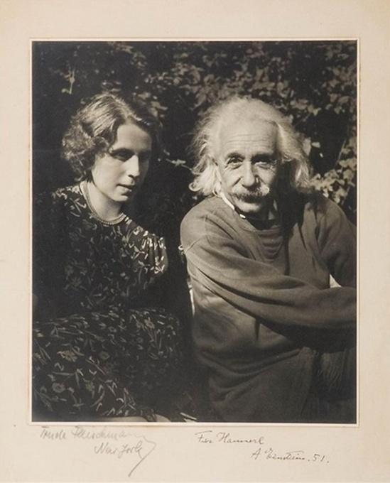 Trude Fleischmann An image of Einstein and Alice Lili Loewy in his garden on Mercer Street in Princeton, 1950s