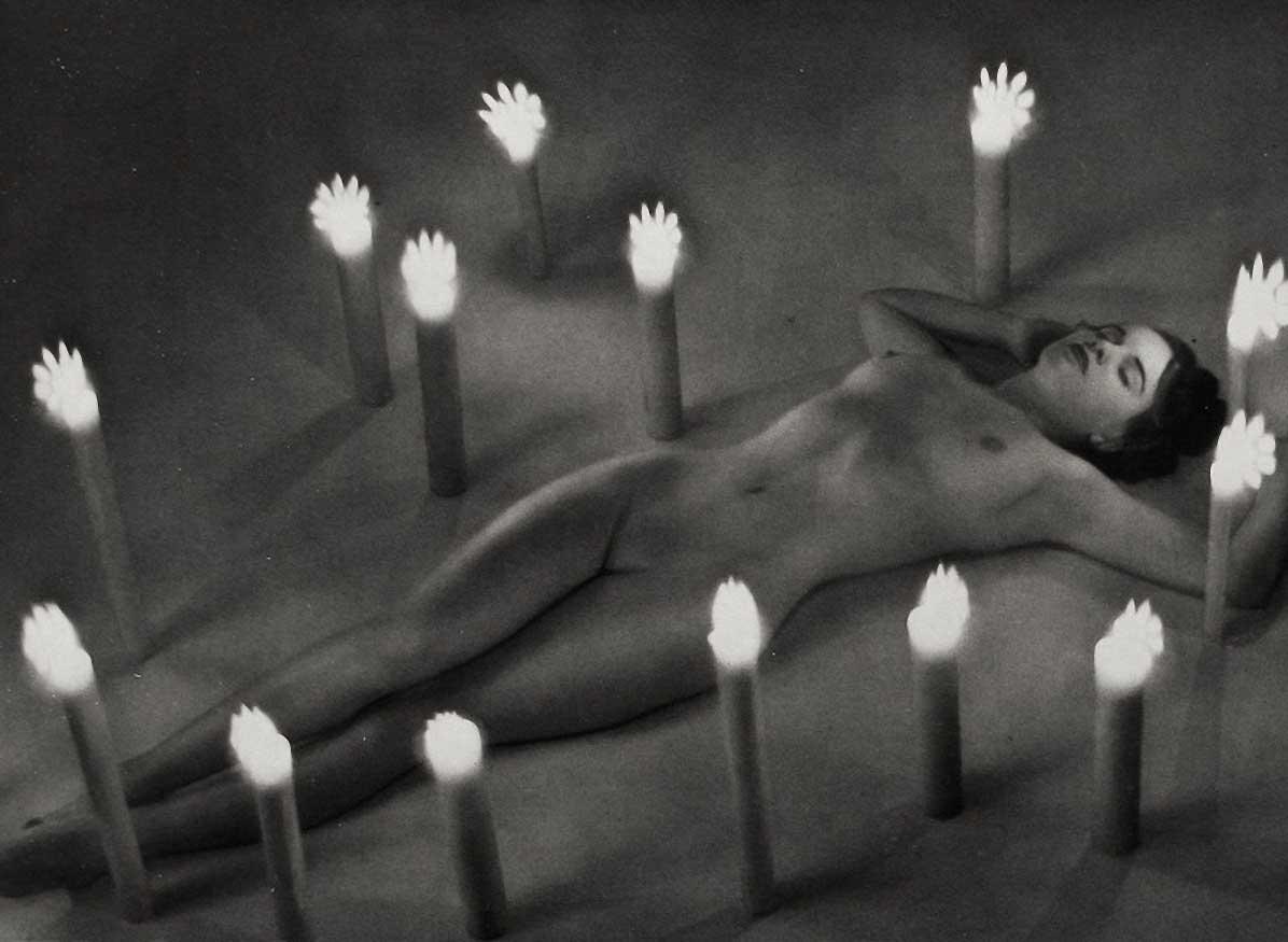Zoltán Verre Femme nue étude, Bougies occulte, 1950.