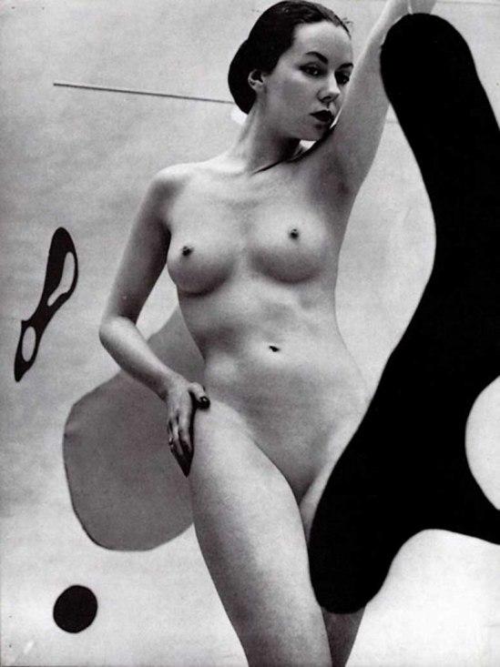 Zoltán Verre Femme étude nue, avec Conception abstraite, 1950