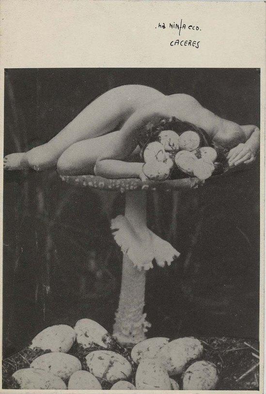 Jorge Caceres- A LA NYMPHE ÉCHOS', 1940 ( binoche et G) ou,La fille aux oeufs  photomontage 1940 , ( source andré Breton)