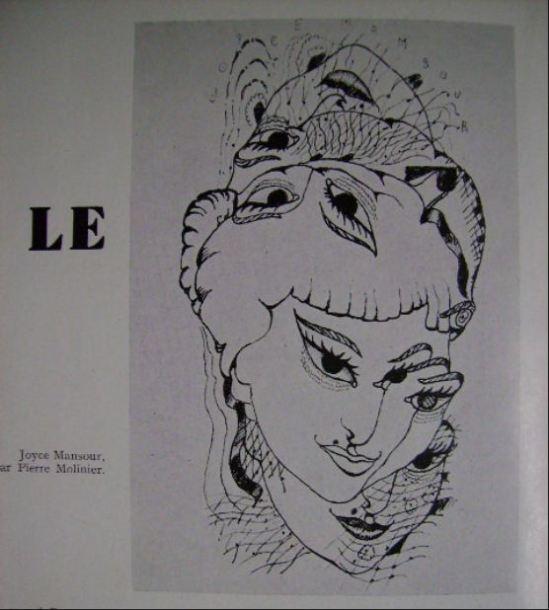 Pierre Molinier- Portrait de Joyce Monsour illustration pour Le Surréalisme, MEME n°1, superviseur andré Breton 1957, Paris, Jean-Jacques Pauvert ed
